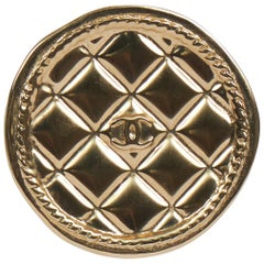 Chanel Light Gold Quilted Logo Pin