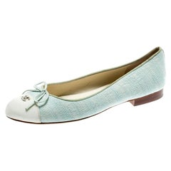 Chanel Light Green Canvas White Cap Toe CC Bow Ballet Flats Size 36.5