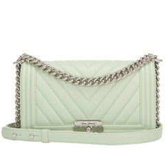 Chanel Light Green Chevron Quilted Calfskin Medium Boy Bag