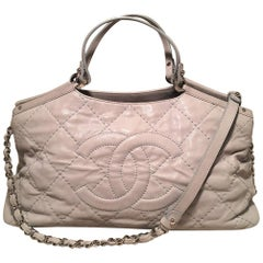 Chanel Light Grey Shimmery Leather CC Quilted Shoulder Bag Tote