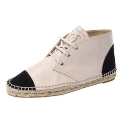 Chanel Light Pink/Black Leather and Canvas Espadrille Sneakers Size 41