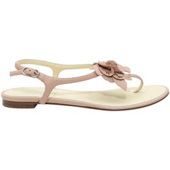 Chanel Light Pink Camelia Thong Sandals