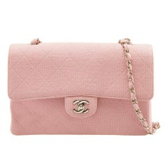 Chanel Light Pink Quilted Jersey Medium Vintage Classic Single Flap Bag