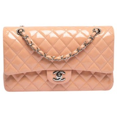 Chanel Light Pink Quilted Patent Leather Medium Classic Double Flap Bag