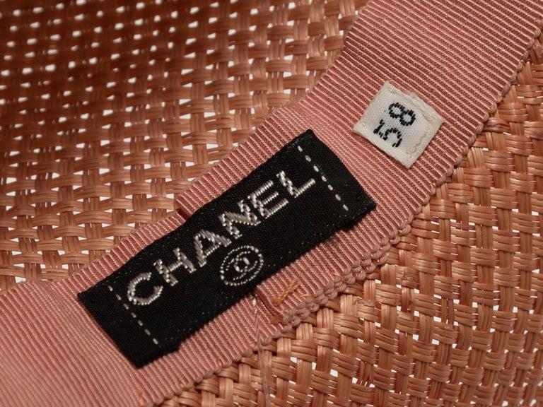Orange Chanel Light Pink Straw Hat For Sale