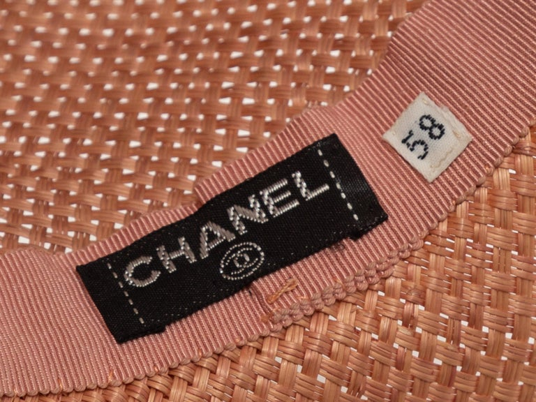 Chanel Light Pink Straw Hat In Good Condition In New York, NY