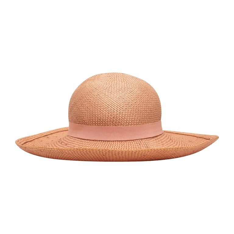 Chanel Light Pink Straw Hat For Sale