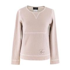 Chanel Lightweight Beige Cashmere Knit Jumper Size 40