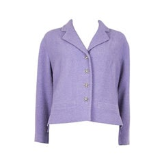 CHANEL lilac purple wool Tweed Short Blazer Jacket 48 XXXL