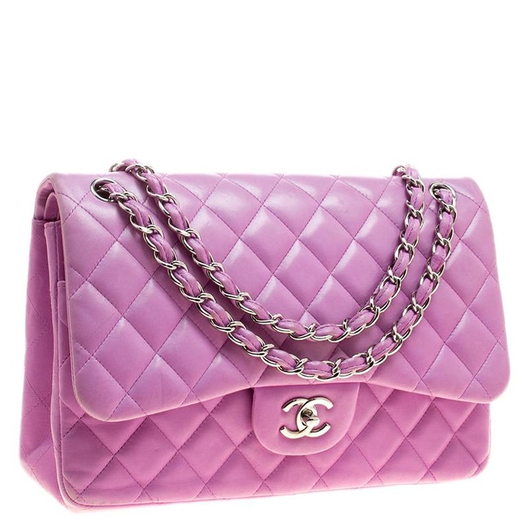 4ce35ea61b27 Purple Chanel Lilac Quilted Leather Jumbo Classic Double Flap Bag For Sale
