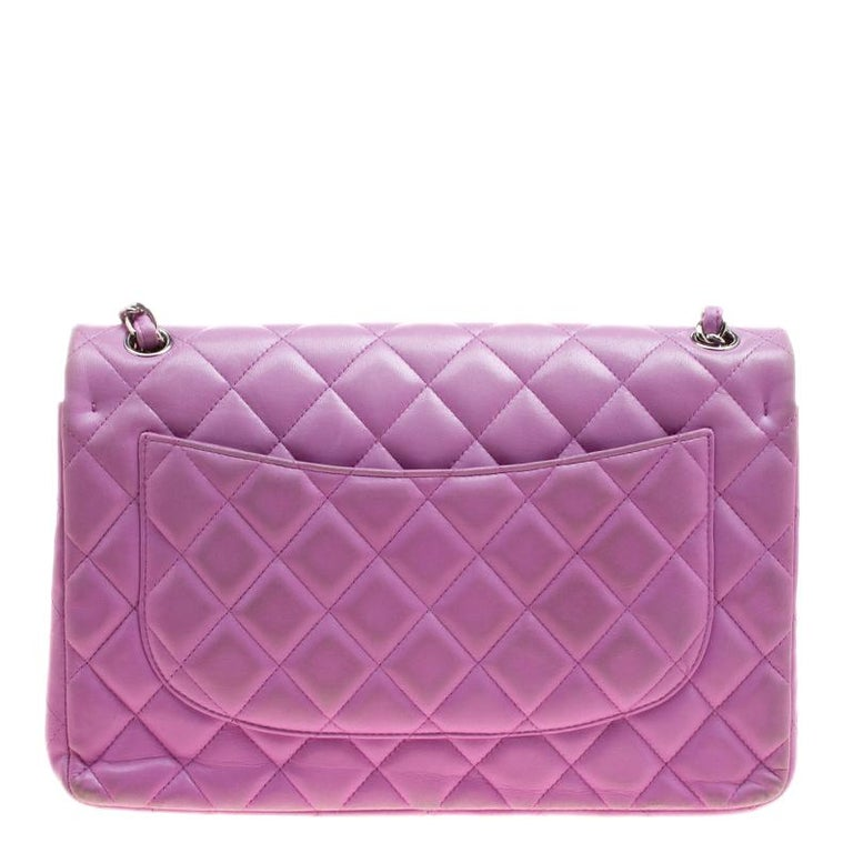 20cf68679805 Chanel Lilac Quilted Leather Jumbo Classic Double Flap Bag In Excellent  Condition For Sale In Dubai