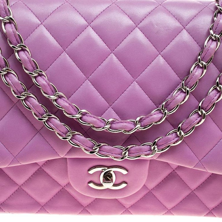 4613812fc3b4 Women's Chanel Lilac Quilted Leather Jumbo Classic Double Flap Bag For Sale