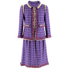 Chanel Lilac Tweed Jacket & Skirt W/ Multicolour Raw Hem SIZE XS