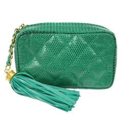 Chanel Lime Green Exotic Skin Leather Gold Tassel Small Evening Clutch Bag