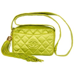 Chanel Lime Green Quilted Satin Leather Tassel Camera Bag, 1990s