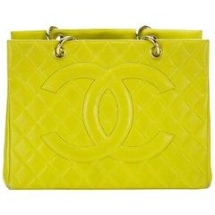 Chanel Lime Green Yellow GST Large CC Logo Grand Caviar Shopper Shopping Tote