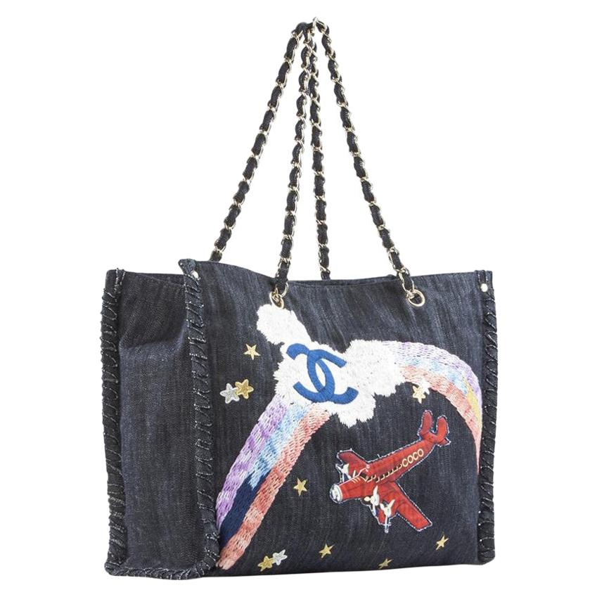 Chanel Limited Edition Airplane Rainbow Mixed Media Blue Jean Denim Tote Rare