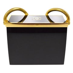 Chanel Limited Edition Black Resin Gold 2 in 1 Evening Clutch Shoulder Box Bag