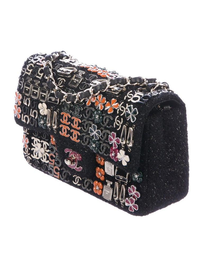 Chanel Limited Edition Black Tweed Orange Blue Pink Charms Evening Shoulder Flap Bag in Box  Tweed Leather Gold-tone hardware Enamel charms  Leather lining Turn-lock closure  Date code present Made in France  Shoulder strap drop 22