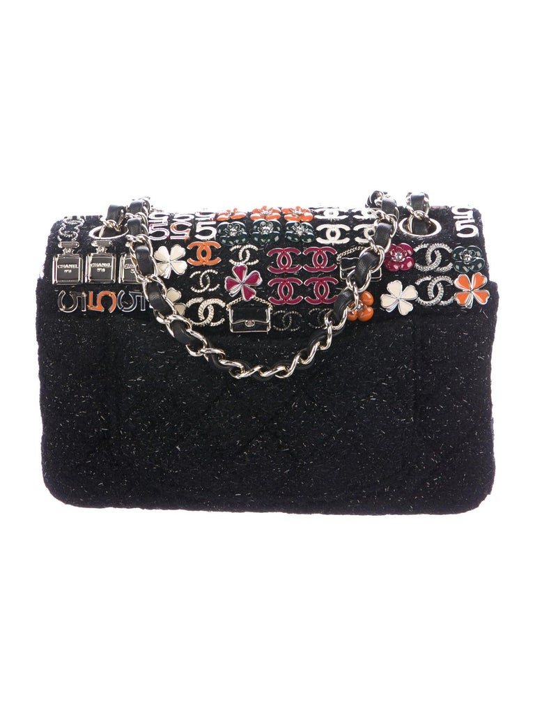 Chanel Limited Edition Black Tweed Charms Evening Shoulder Flap Bag in Box In Excellent Condition For Sale In Chicago, IL