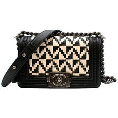 Chanel Limited Edition Black & White Calfskin Woven Small Boy Bag 20cm