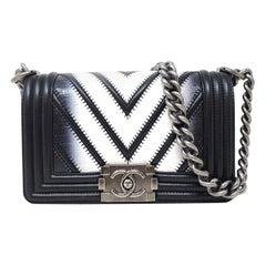 Chanel Limited Edition Boy Bag Black, White LIZARD. 2016