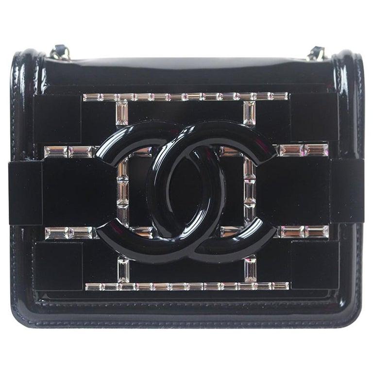 Chanel Limited Edition Boy Brick Crystal and Plexi Crossbody Bag For Sale