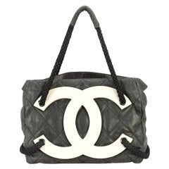 Chanel Limited Edition Cruise Yacht Nautical Beach Black Coated Canvas Tote