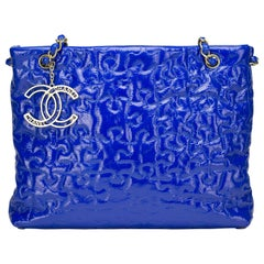 Chanel Limited Edition Electric Neon Blue Puzzle Patent  Grand Shopping Tote