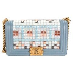 Chanel Limited Edition Light Blue Leather & Mosaic Medium Boy Bag