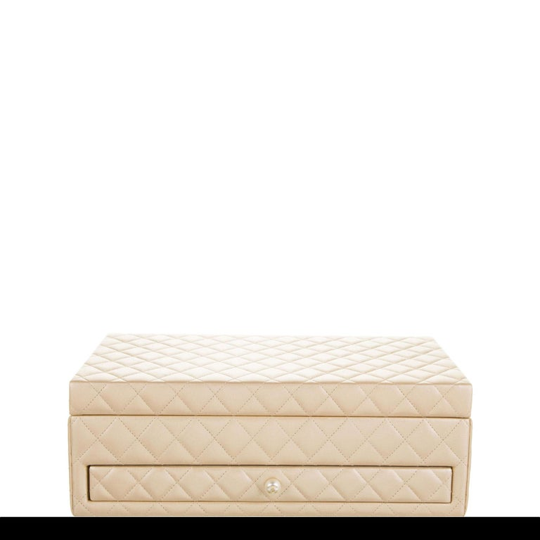 Chanel Limited Edition Light Gold Vanity Case Rare Home Decor Jewelry Box For Sale 1