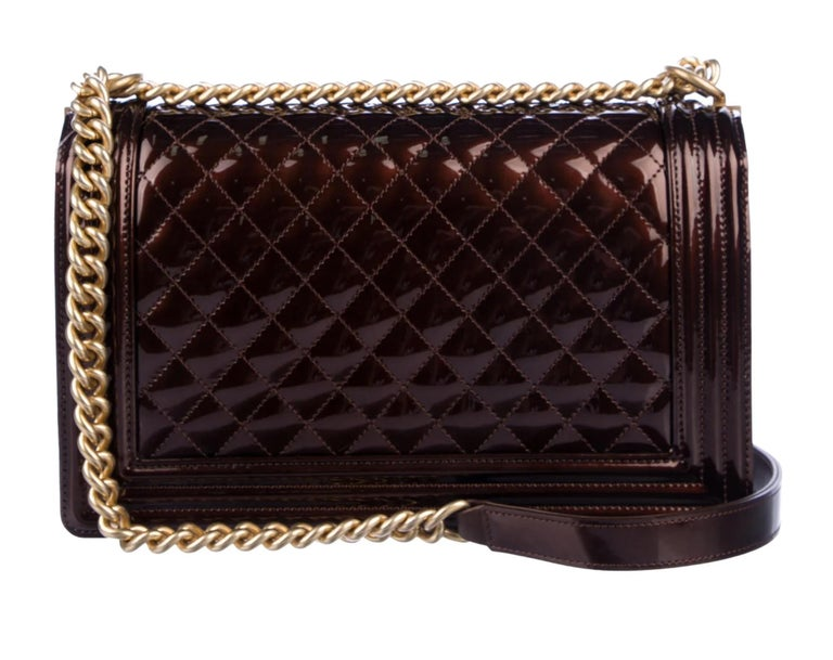 Black  Chanel Rare Limited Edition Metallic Bronze Large Brown Gold Boy Bag For Sale