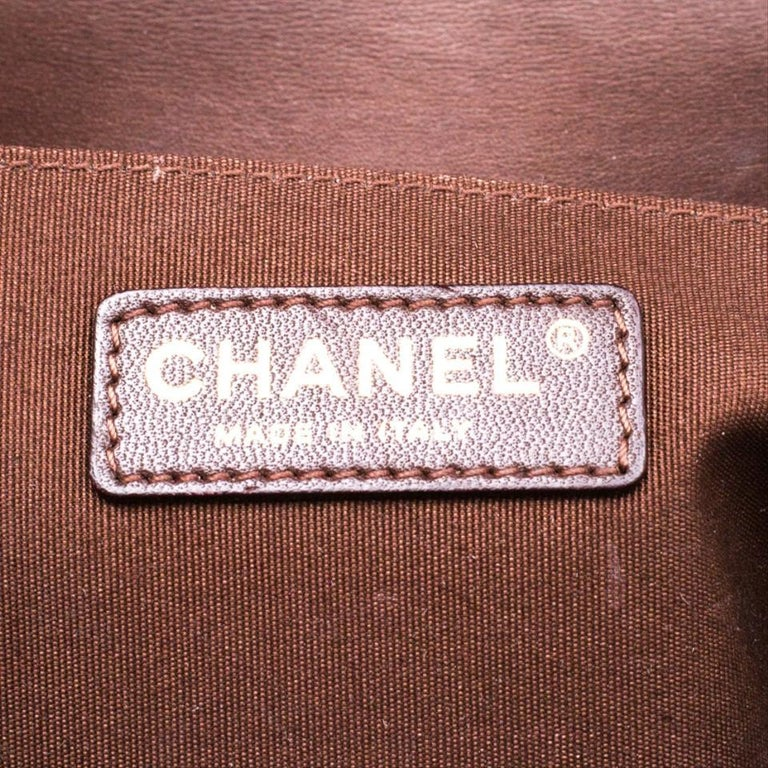 Chanel Rare Limited Edition Metallic Bronze Large Brown Gold Boy Bag For Sale 2