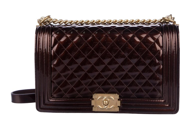 Chanel Rare Limited Edition Metallic Bronze Large Brown Gold Boy Bag For Sale 3
