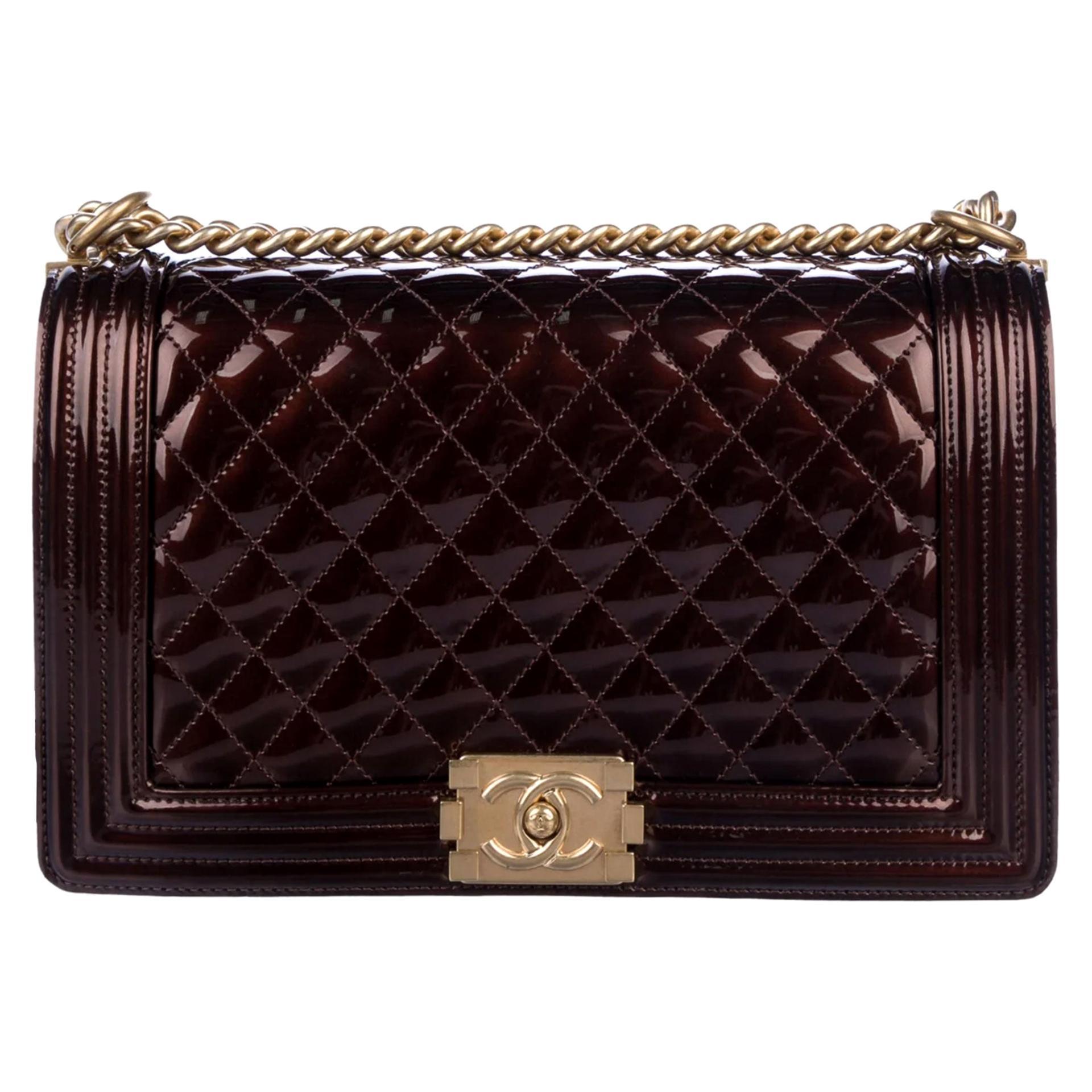 Chanel Rare Limited Edition Metallic Bronze Large Brown Gold Boy Bag