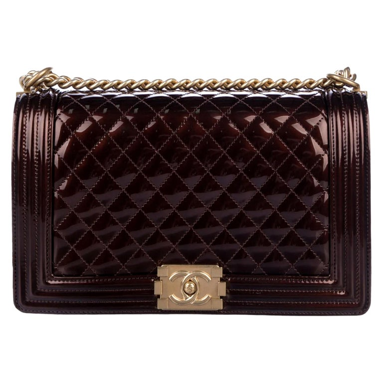 Chanel Rare Limited Edition Metallic Bronze Large Brown Gold Boy Bag For Sale