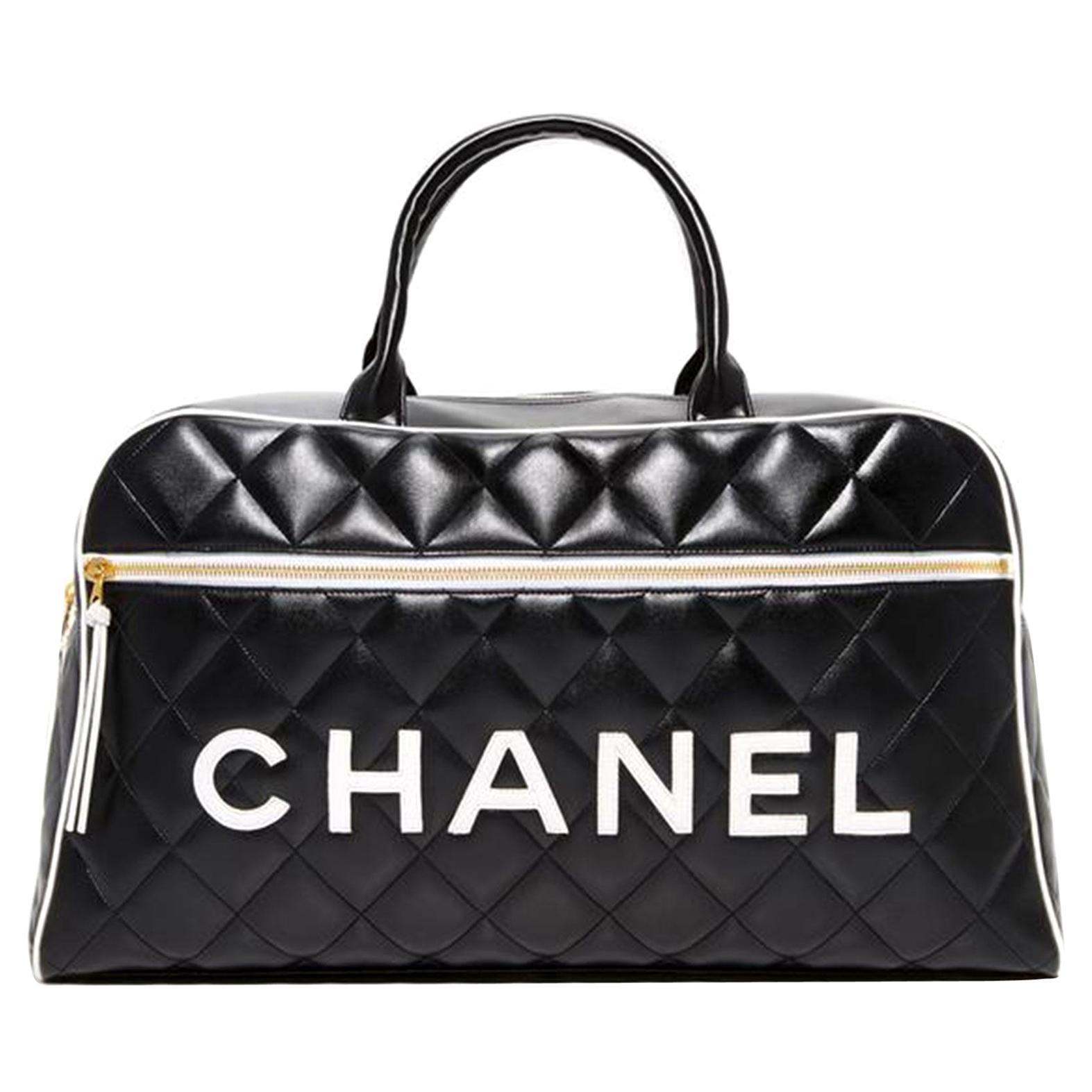 Chanel Limited Edition Vintage Duffel Tote Black and White Leather Weekend Bag
