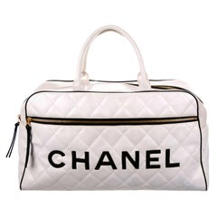 Chanel Limited Edition Vintage Duffel Tote White and Black Leather Weekend Bag