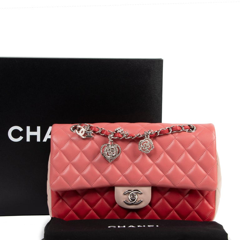 Excellent Condition  Chanel Limited Tricolor Quilted Valentine Crystal Hearts Flap Bag   Valentine is around the corner ♡ !  We think this Chanel Tricolor Valentine Crystal Hearts Flap Bag would be the perfect gift !!! Made out of super soft quilted