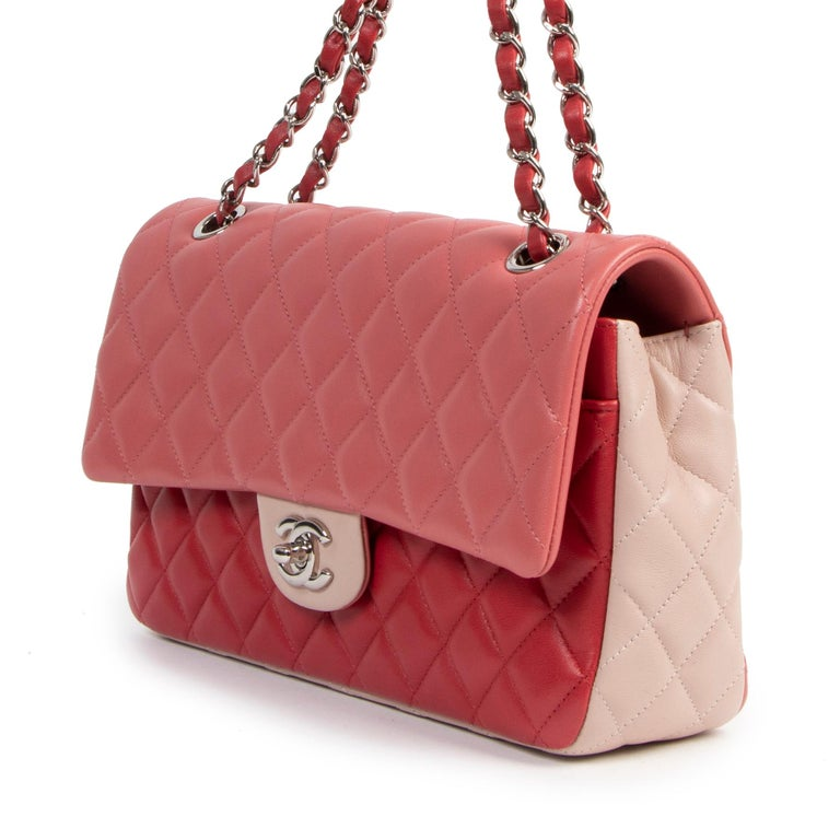 Pink Chanel Limited  Tricolor Medium Valentine Crystal Hearts Classic Flap Bag