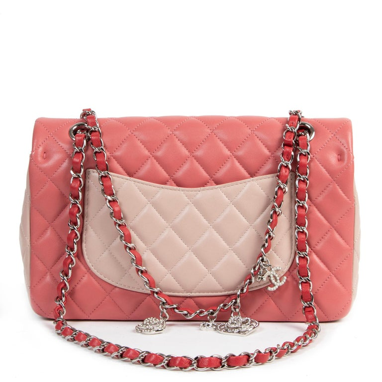 Chanel Limited  Tricolor Medium Valentine Crystal Hearts Classic Flap Bag  In Excellent Condition In Antwerp, BE