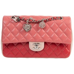 Chanel Limited  Tricolor Medium Valentine Crystal Hearts Classic Flap Bag