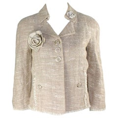 Chanel Linen Fantasy Woven Tweed Fringed Trim Jacket Blazer