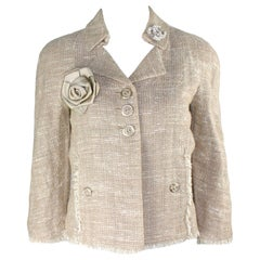 Chanel Linen Fantasy Woven Tweed Fringed Trim Jacket Blazer with Camellia Brooch