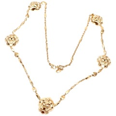 Chanel Lion Five Station Yellow Gold Link Necklace