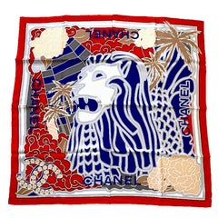 CHANEL Lion Head Scarf in Red, Blue and White Silk