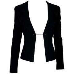 Chanel Little Black Jacket Tuxedo-Style Evening Jacket Blazer with Chain Detail