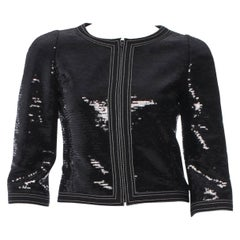 "Black Chanel Signature Black Sequin Cropped ""Little Black Jacket"" Blazer"