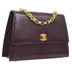 Chanel Lizard Leather Small Party Kelly Style Box Evening  Shoulder Flap Bag