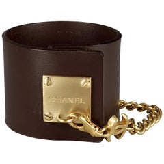 CHANEL Logo Chain Brown Leather Cuff Bracelet Spring 2003